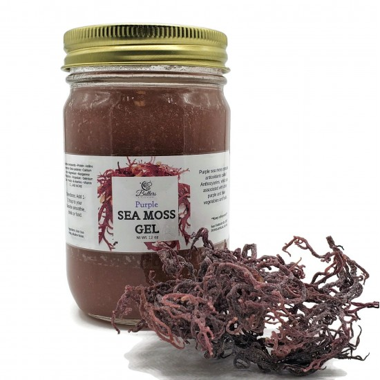 Purple Sea Moss Gel- Made with wild-crafted sun-dried purple sea moss from St. Lucia 16 oz