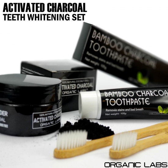 Activated Charcoal Powder Bamboo Toothpaste & Toothbrushes Teeth Whitening Kit
