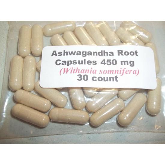 Ashwagandha Root Powder Capsules (Withania somnifera) 450 mg.  30 count