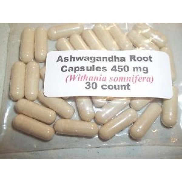 Ashwagandha Root Powder Capsules (Withania somnifera) 450 mg.  30 count