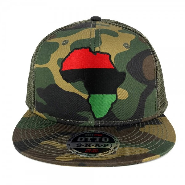 Red Black Green Africa Map Embroidered Patch Camo Flat Bill Snapback Mesh Cap