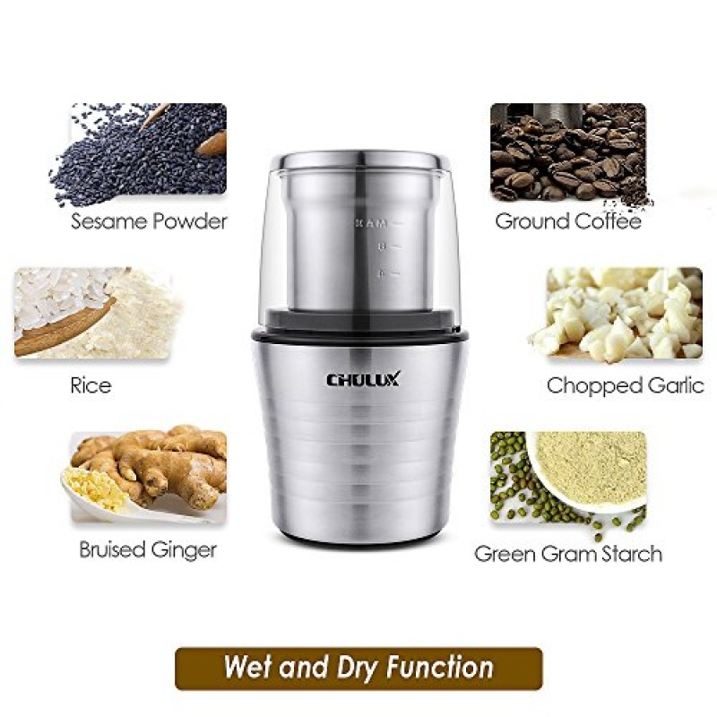 CHULUX Electric Spices and Coffee Grinder with 2 5 Ounce Two