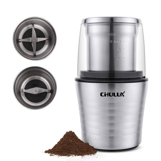 Electric Spices and Herb Grinder with 2.5 Ounce Two Detachable Cups for Wet/Dry Food,Powerful Stainless Steel Blades and Cleaning Brush