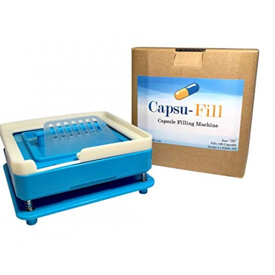 Capsu-Fill Capsule Holder and Filling Machine Kit for 100 Size 00 Empty Gel or Vegetable Capsules for vitamins, herbs, supplements and essential oils.
