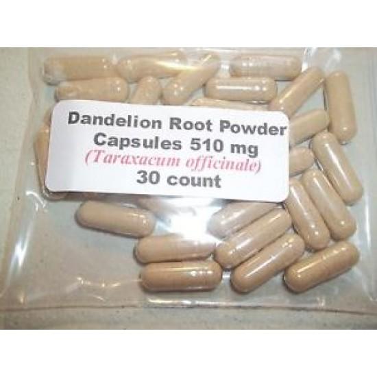 Dandelion Root Powder Capsules (Taraxacum officinale) 510 mg - 30 Count