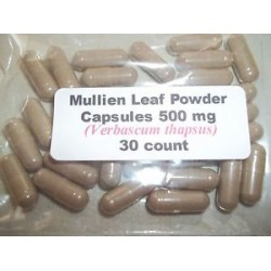 Mullein Leaf Powder Capsules (Verbascum Thapsus) 500 mg. - 30 Count