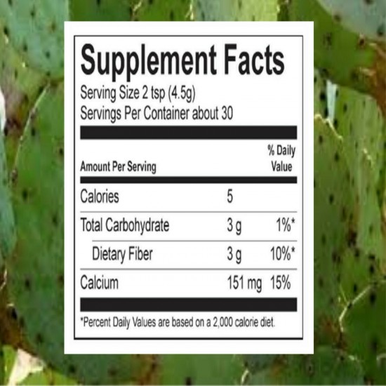 NOPAL CACTUS PURE 100% Blood Sugar Support Bloated Stomach Fiber 1/2Lb