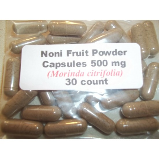 Noni Fruit Powder Capsules (Morinda citrifolia) 500 mg - 30 Count
