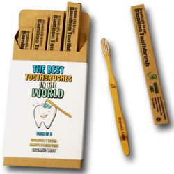 Toothbrush Natural Bamboo Toothbrush BPA Free Bristles, Pack of 4