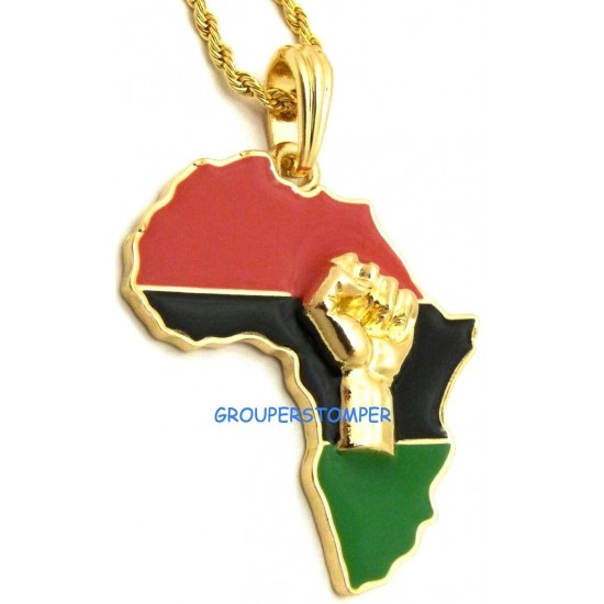 Power Fist On Pan-African Africa Pendant Necklace With 24 Inch Chain