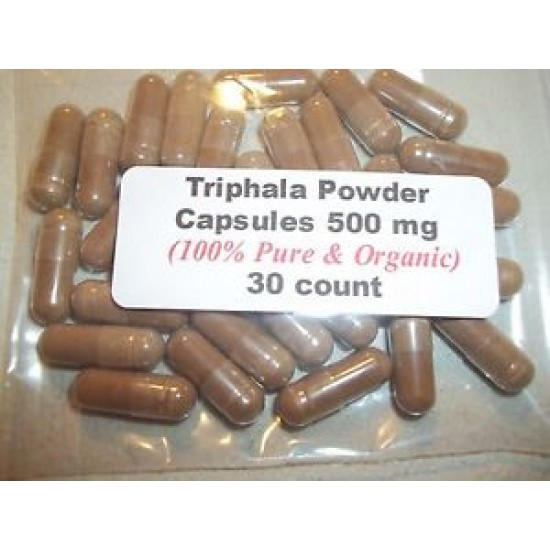 Triphala Powder Capsules From Dried Haritaki Fruit (100% Pure & Organic) 30 Count