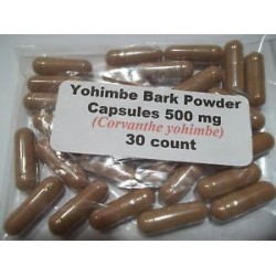 Yohimbe Bark Powder Capsules (Corvanthe yohimbe) 500 mg - 30 count