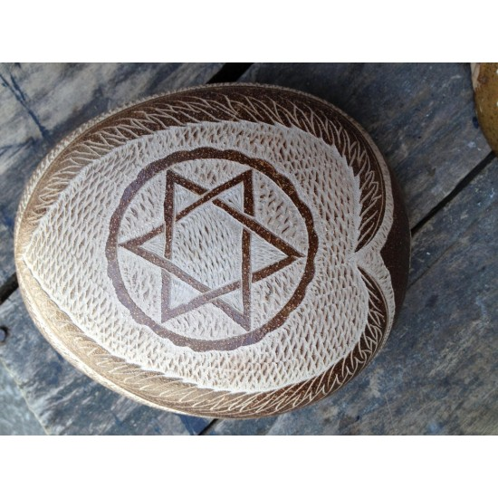 Calabash Bowl Plate/Dish Handmade From Nature Jamaica With a FREE Bag of Dried Sour Sop Left For Tea