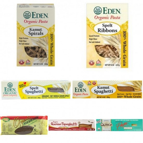 Organic-Pasta-Spaghetti Combo Package- Kamut, Wild-Rice, Quinoa, Spelt- 2 Packs Each