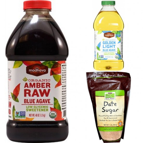 Dr Sebi Approved Alkaline Sweeteners & Sugar Combo Package- Dates Sugar, Organic Raw Blue/Golden Light Blue Agave Amber