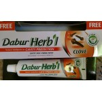 2 Packs Dabur Herbal Toothpaste With, No Fluoride, No Harmful Chemicals Suitable for vegetarians Clove 154g