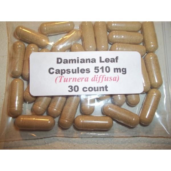 Damiana Leaf Powder Capsules (Turnera diffusa) 510 mg.  30 Count