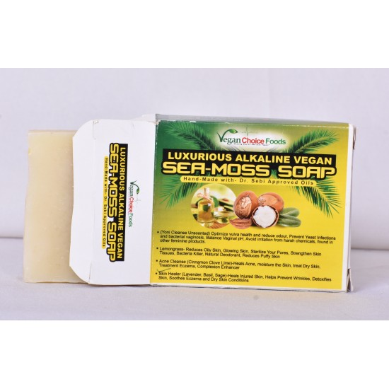 Alkaline Vegan Luxurious Sea Moss Soap, Hand-Made with- 7 100% Pure Essential Oils Dr. Sebi Approved Oils