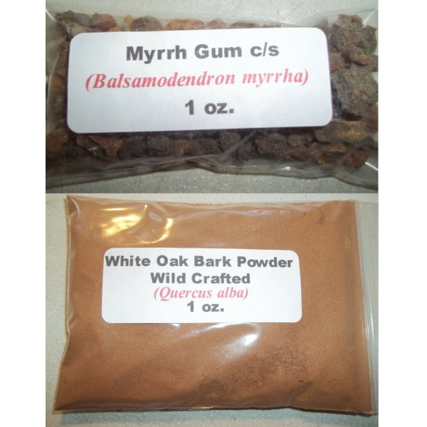 Myrrh Gum Resin Herb & Oak Bark Powder (Balsamodendron myrrha)- Dr. Sebi TOOTH POWDER To Brush Teeth 1 oz. Each
