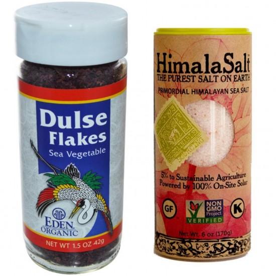 Dr Sebi Approved Alkaline Salty Flavors Combo Package- Organic-Dulse-Flakes-Sea-Vegetable, Himalayan Sea Salt